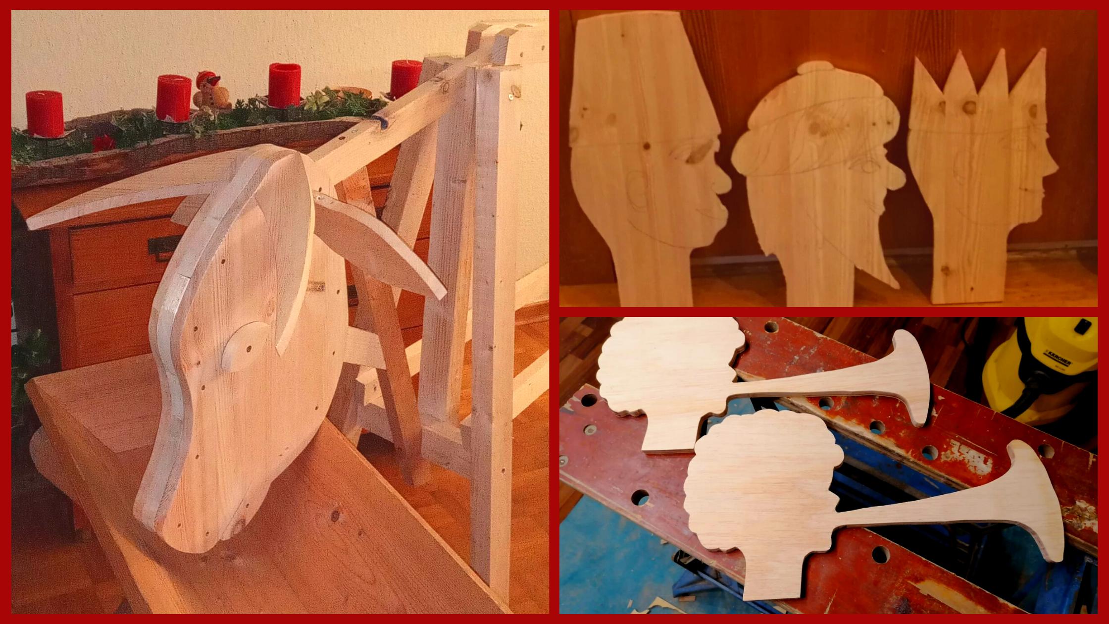 Rollende Weihnacht 2020 Lahnau Ochs, Engel und heilige drei Könige aus Holz geschnitzt